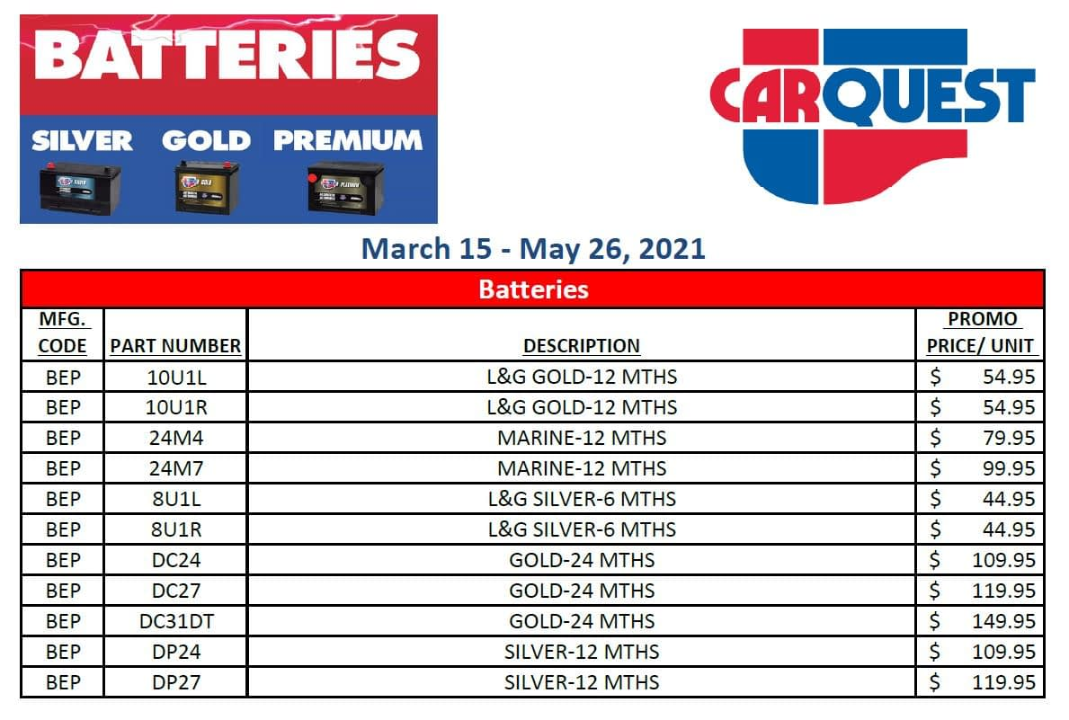 Carquest Battery Promotion - Valid Until May 26, 2021