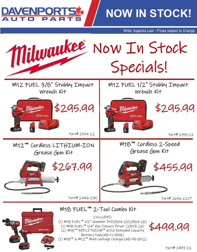 Milwaukee Tools: Now In Stock Specials!