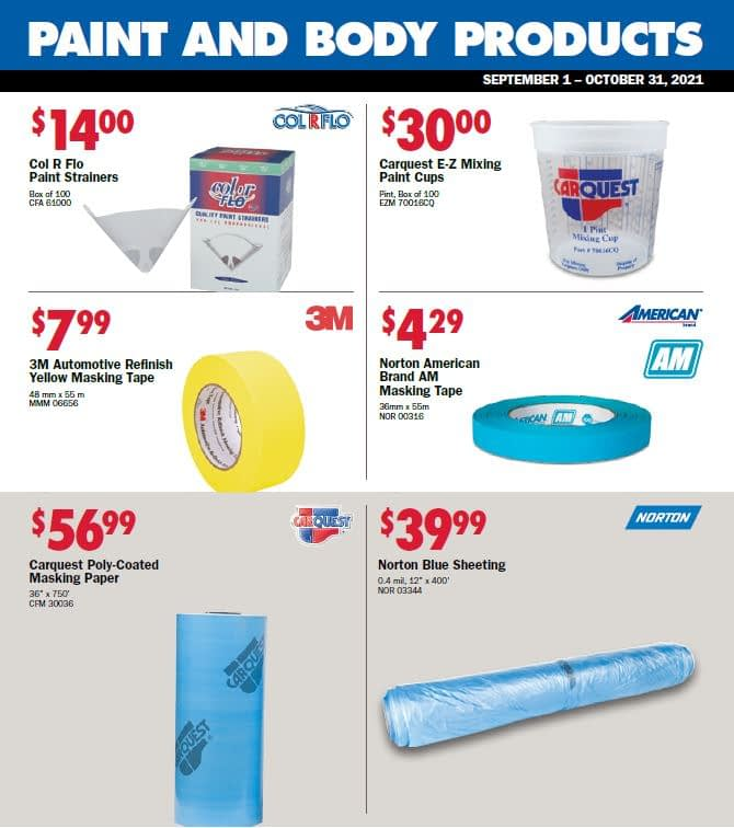 Paint & Body Product Specials